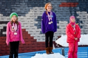 Whitewater skiers Aliza Jones (left) and Sierra Pardoe stand on the podium to receive medals during the award ceremony.  submitted photo
